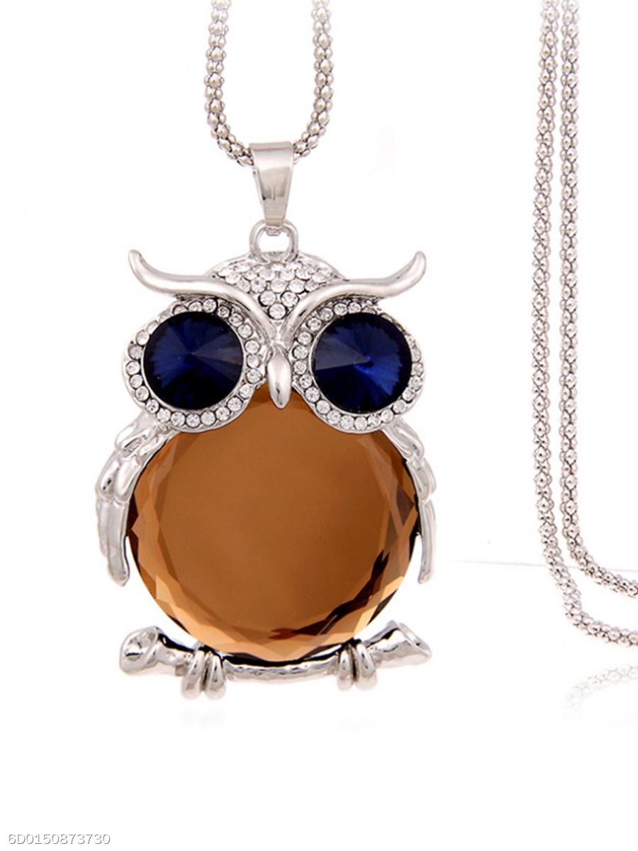 Alloy Owl Imitated Crystal Pendant Long Necklace