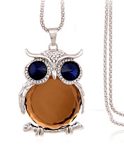 Gold Owl Crystal Pendant Long Necklace