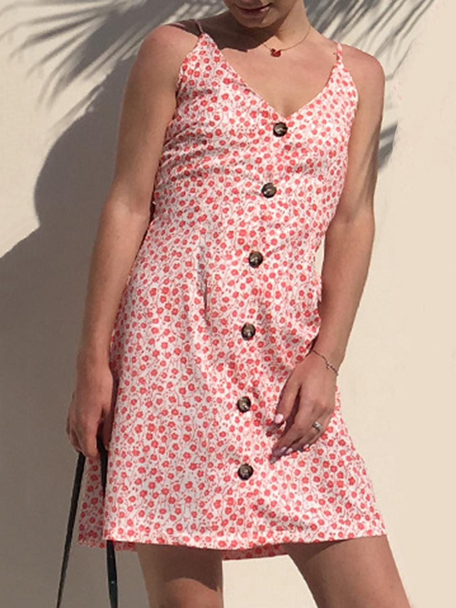 Spaghetti Strap Casual Single Breasted Printed Skater Dress