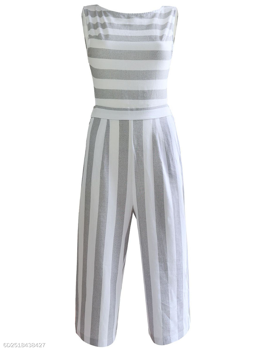 Striped Pocket Back Hole Wide-Leg Cropped Jumpsuit