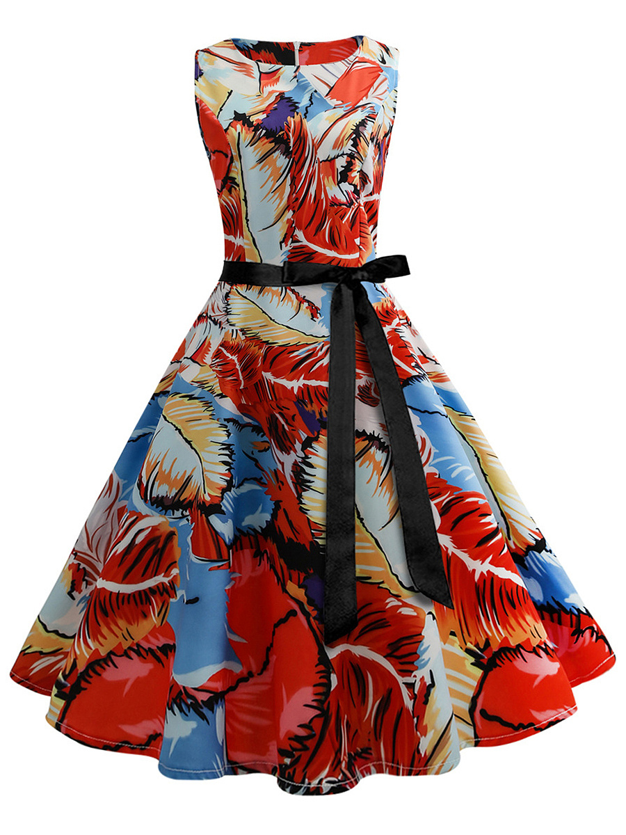 Round Neck Multi-Color Printed Midi Skater Dress