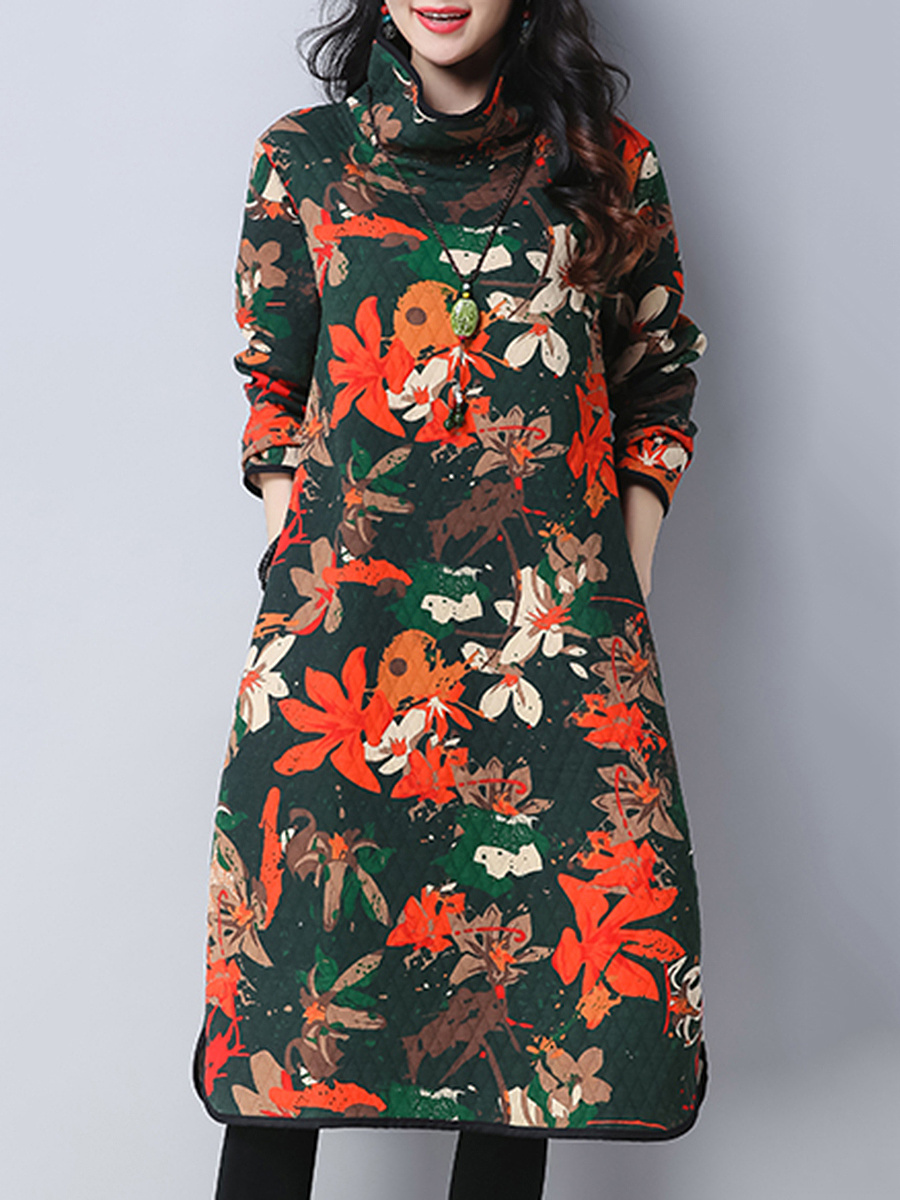 High Neck Floral Printed Pocket Shift Dress