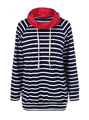 Cowl Neck  Striped  Long Sleeve Sweatshirts
