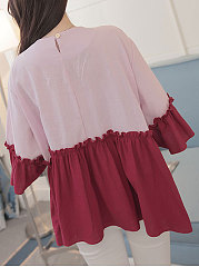 Summer  Cotton/Linen  Women  Round Neck  Patchwork  Plain  Bell Sleeve  Three-Quarter Sleeve Blouses