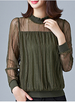 Autumn Spring  Cotton  Women  Band Collar  See-Through  Hollow Out  Long Sleeve Blouses
