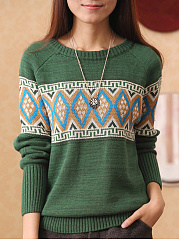 Round Neck  Geometric  Raglan Sleeve Sweater