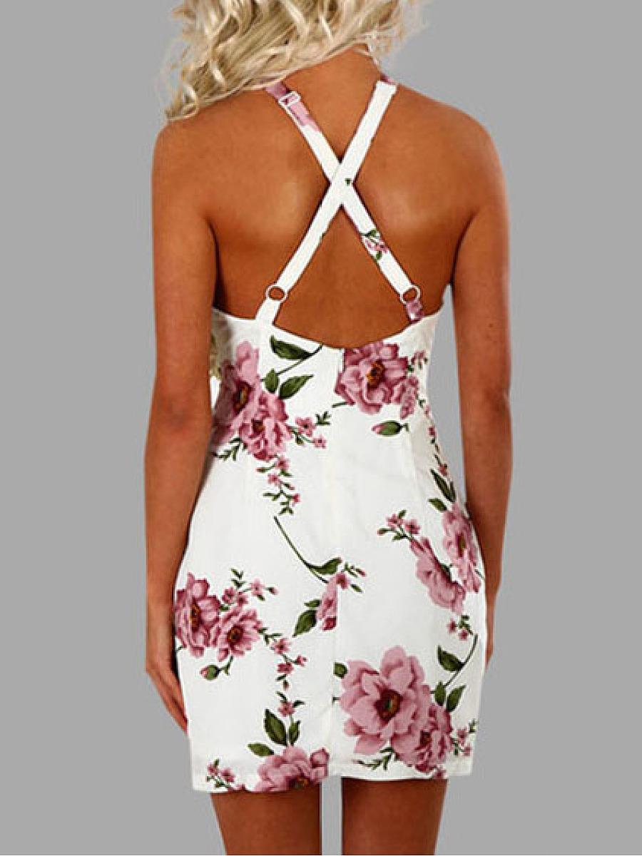 Halter  Floral Bodycon Dress