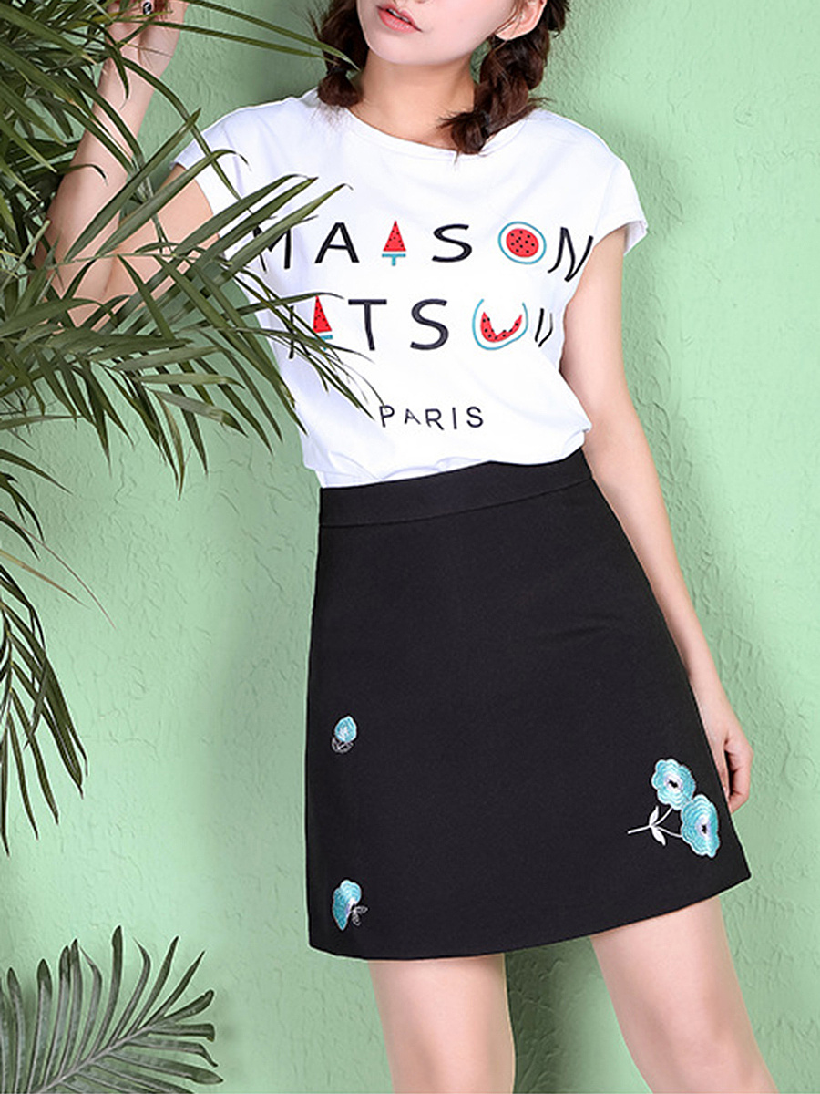 Lovely Embroidery A-Line Mini Skirt