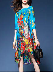 Round Neck  Asymmetric Hem  Printed  Polyester Maxi Dress