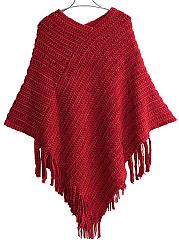 V-Neck-Fringe-Plain-Knitted-Cape