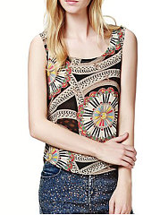 Summer  Spandex  Women  Round Neck  Abstract Print Floral  Sleeveless Blouses