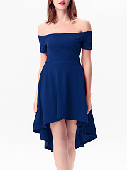 Sexy Off Shoulder Plain High-Low Skater Dress