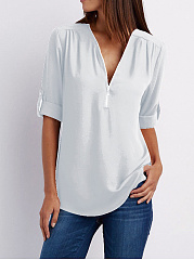 Spring Summer  Polyester  Women  V-Neck  Zips  Plain  Roll-Up Sleeve  Long Sleeve Blouses