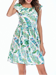 Two Way Flounce Back Hole Leaf Printed Skater Dress