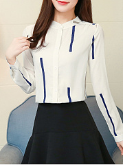 Autumn Spring  Acrylic  Women  Round Neck  Striped  Long Sleeve Blouses