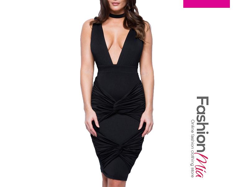Deep V-Neck  Plain Bodycon Dress 6D71BF62042F