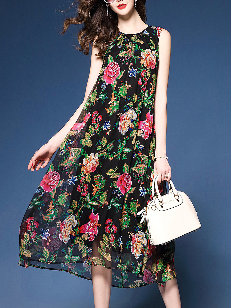 Crew Neck  Floral  Blend Maxi Dress