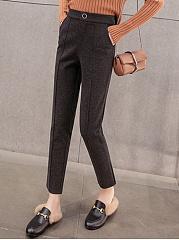 Plain-Woolen-Pocket-Slim-Leg-Casual-Pants