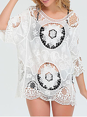Round Neck  Patchwork  Lace Tunic