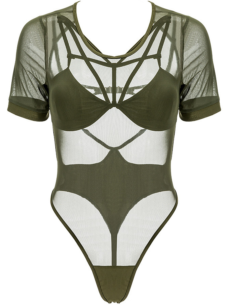 Enticing See-Through Plain Swimwear