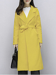 Lapel Belt Plain Pocket Woolen Long Wrap Coat