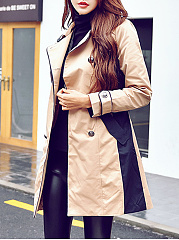 Double Breasted  Belt  Long Sleeve Trench Coats