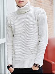 Mene28099S-Turtleneck-Plain-Striped-Sweater