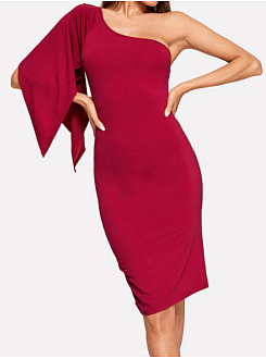 One Shoulder  Plain Bodycon Dress
