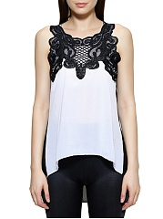 Spring Summer  Women  Open Shoulder  Decorative Lace Patchwork  Color Block  Sleeveless Blouses