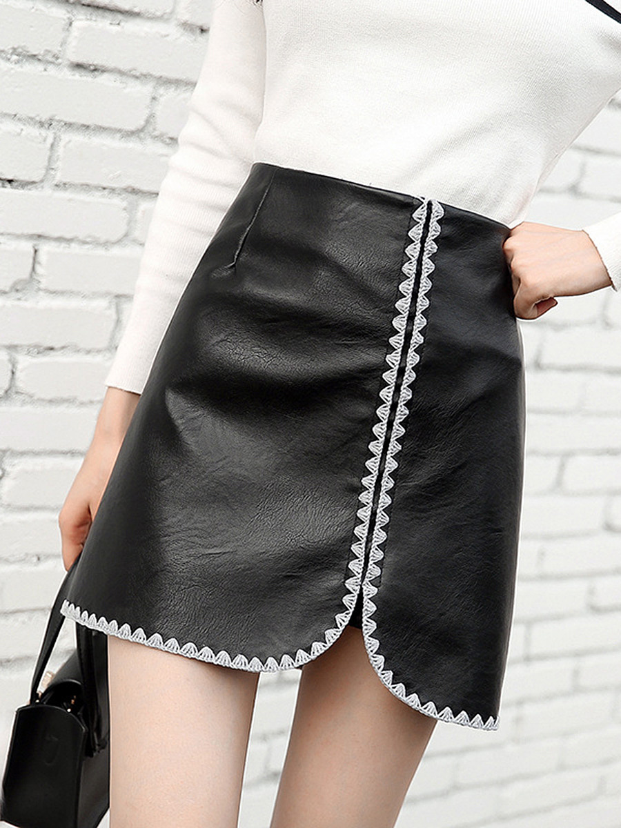 Contrast Trim Slit PU Leather A-Line Mini Skirt