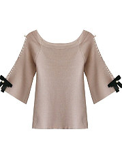 Round Neck  Beading Bowknot  Plain  Half Sleeve Sweaters Pullover