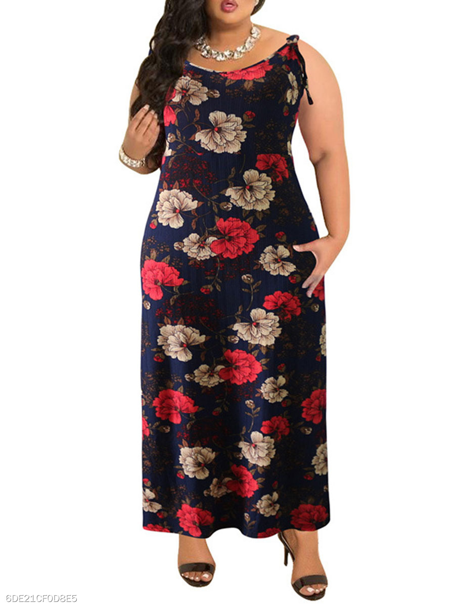 Round Neck  Backless  Bohemian Floral Printed Plus Size Midi & Maxi Dresses