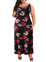 Round Neck  Backless  Bohemian Floral Printed Plus Size Midi  Maxi Dresses