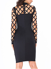 See-Through Plain Band Collar Bodycon Dress