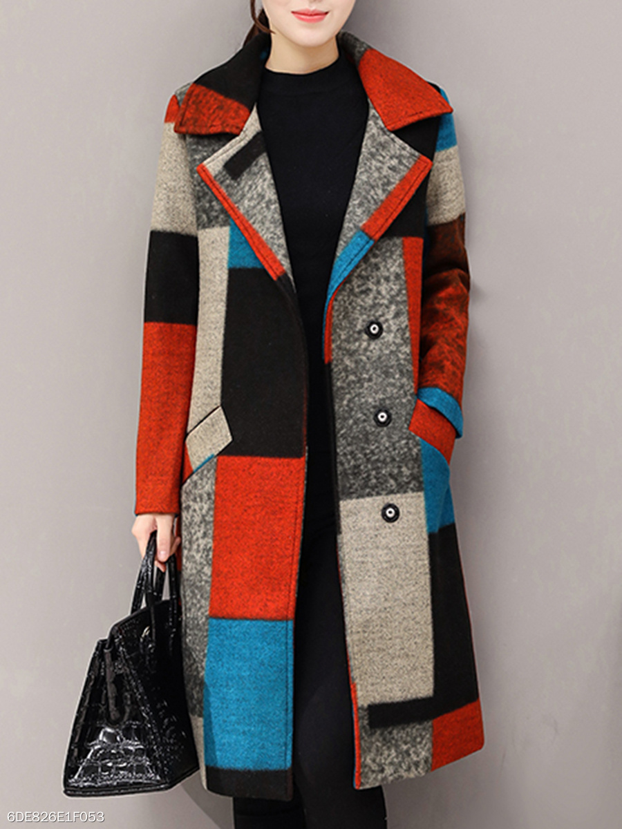Lapel  Patchwork Single Breasted Slit Pocket  Color Block Geometric Coats