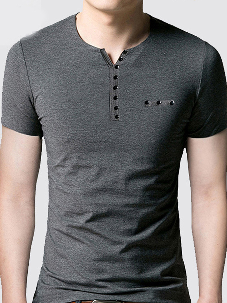 Henley Collar  Plain Men T-Shirt