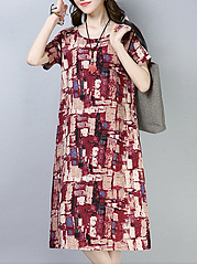 Round Neck  Abstract Print Casual Shift Dress