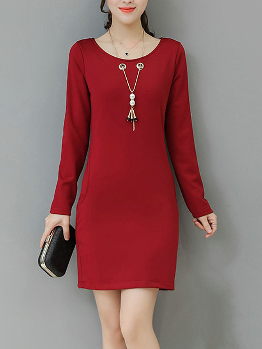 Round Neck Necklace Plain Pocket Bodycon Dress