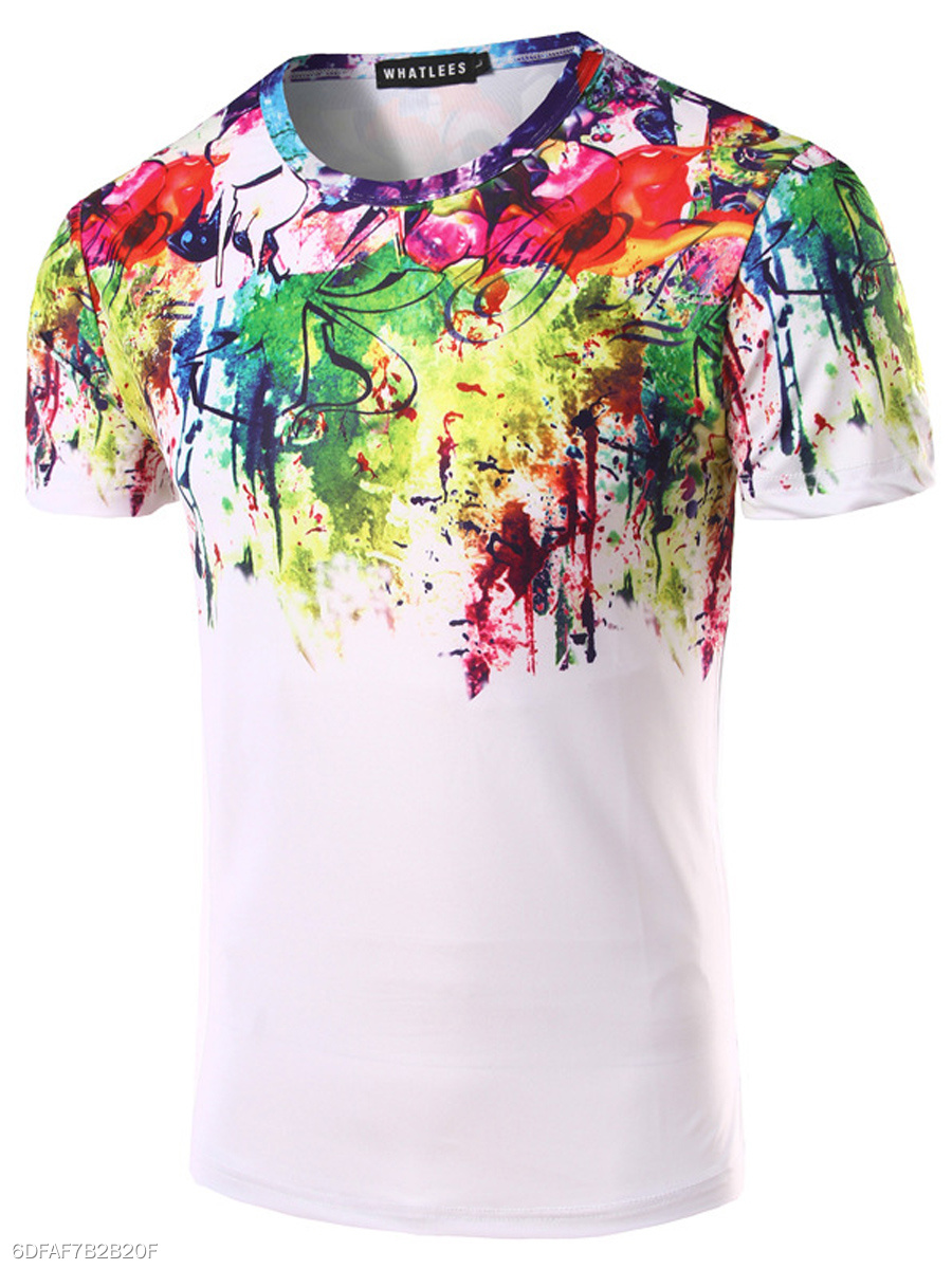 Round Neck  Graffiti  Short Sleeve Short Sleeves T-Shirts