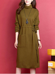 High Neck  Patch Pocket  Belt  Plain Shift Dress