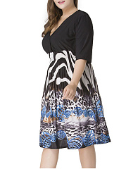 Deep V-Neck  Plus Size Flared Dress In Animal Printed