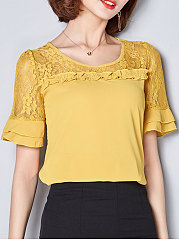 Spring  Polyester  Women  Round Neck  Decorative Lace  Plain  Short Sleeve Blouses