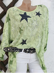 Round Neck  Loose Fitting  Star Long Sleeve T-Shirts