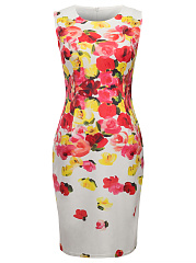 Round Neck Slit Bodycon Dress In Floral Printed