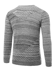 Crew Neck Embossed Basic Men'S Sweater