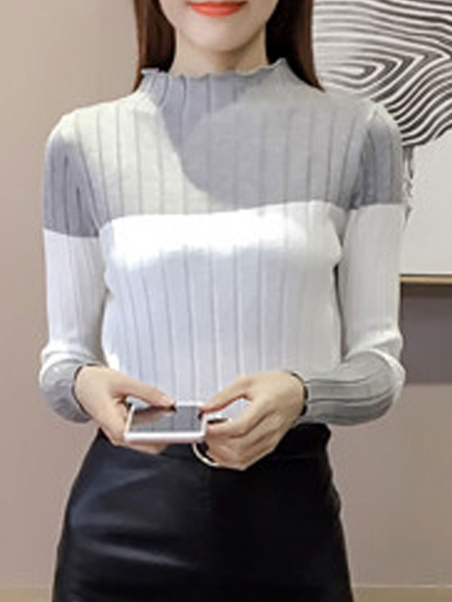 High Neck  Patchwork  Striped  Long Sleeve Pullover