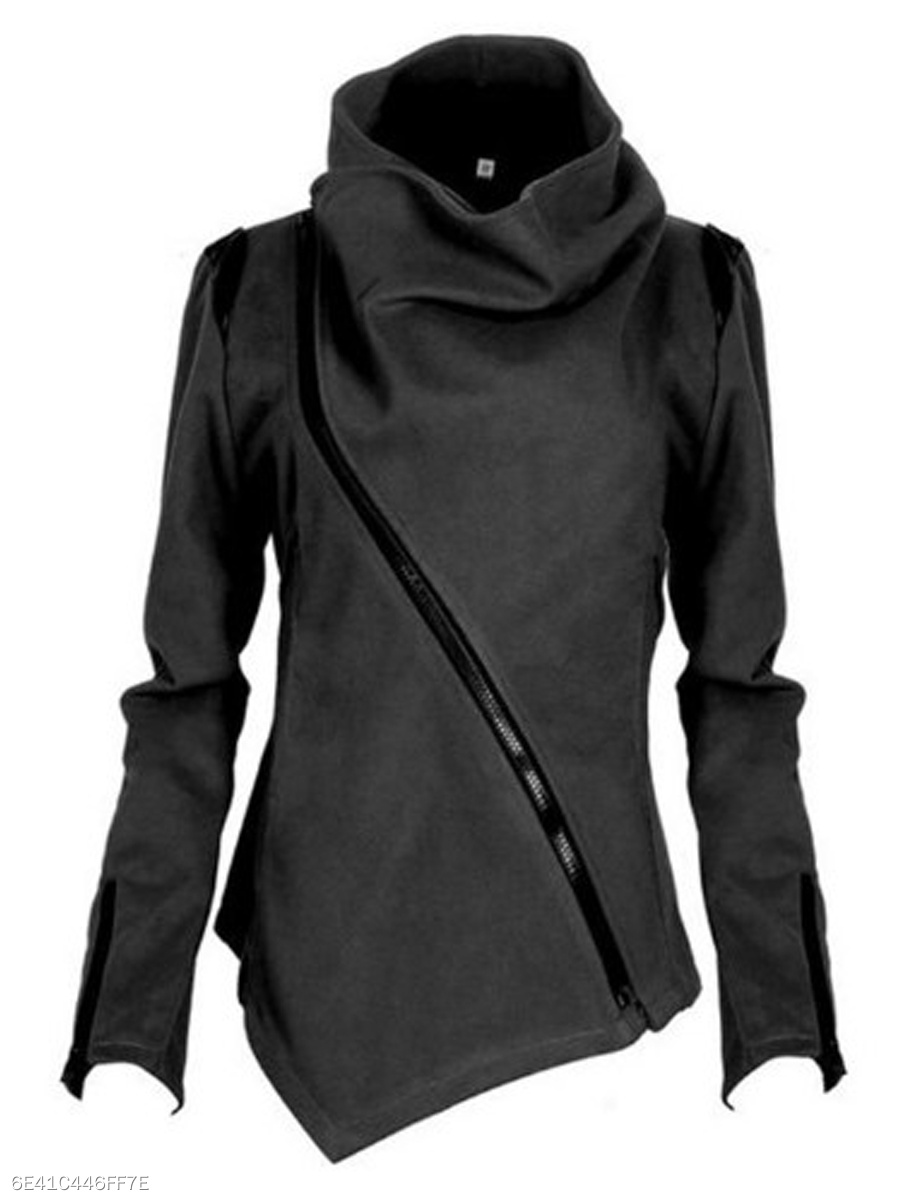 High Neck  Zips  Plain  Long Sleeve Coats