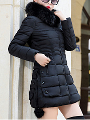 Hooded Pocket Quilted Plain Zip Coat
