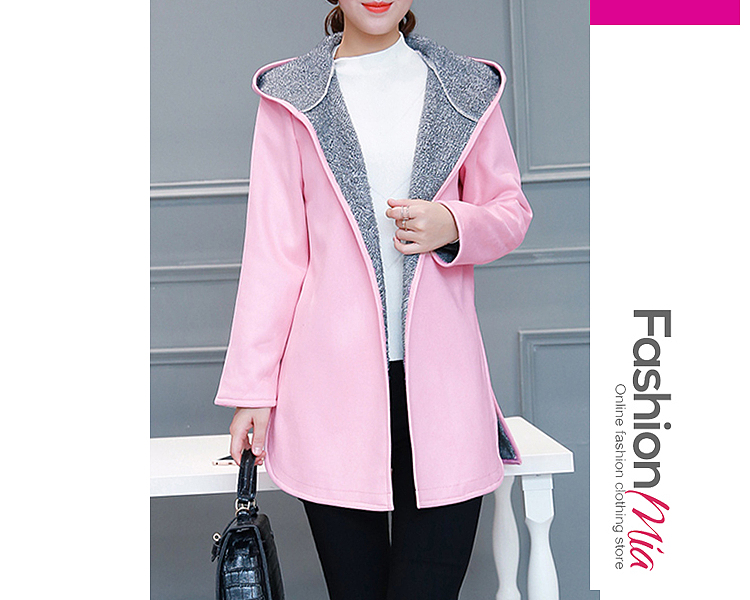 gender:women, hooded:yes, thickness:regular, brand_name:fashionmia, outerwear_type:coat, style:fashion,japan & korear, material:woolen, collar&neckline:hooded, sleeve:long sleeve, embellishment:side slit, pattern_type:plain, occasion:basic,daily,date, season:autumn,winter, package_included:top*1, lengthbust