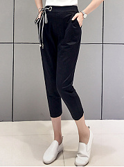 Bowknot Pocket Slim-Leg Casual Pants